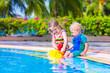Kids at a swiming pool
