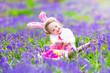 Little girl at easter egg hunt