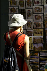 Tourist in Siena, Tuscany. Color image