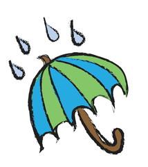 doodle umbrella under the rain