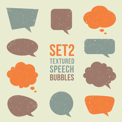 Retro textured speech bubbles set