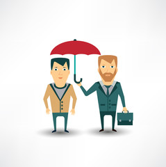 insurance agent holding umbrella
