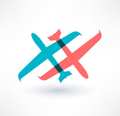 Airplane symbol. Design logo.