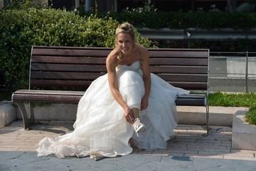 Sposa sulla panchina