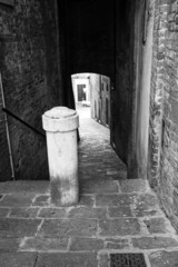 Siena, Tuscany, old city view. BW image