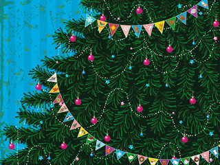 Christmas tree with garland of colorful triangle flags
