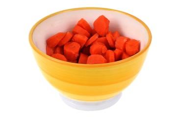 Bol de carottes cuites coupées en rondelles