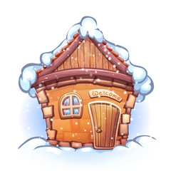 Illustration of winter cartoon home