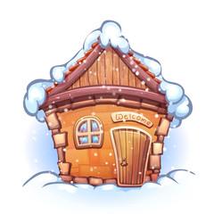 Illustration of winter cartoon home