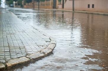 Drops of heavy rain in the city.