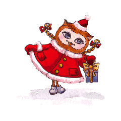 Owl Maiden in a red coat with gift Vector watercolor.