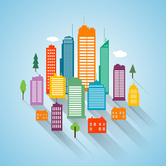 Flat building design cityscape background