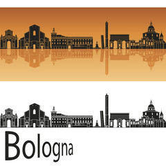 Bologna skyline in orange background
