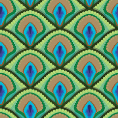 seamless texture of peacock feathers