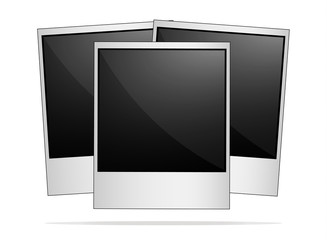Empty retro photo frames on white background.