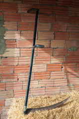 Old scythe. Farm tool