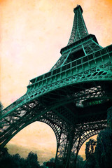 Eiffel Tower - retro postcard styled.