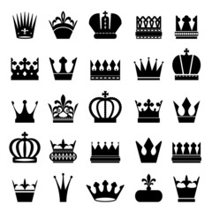 Crown silhouettes set isolated on white.