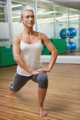 Sporty young woman doing power fitness exercise
