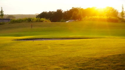 Sunset at golf course