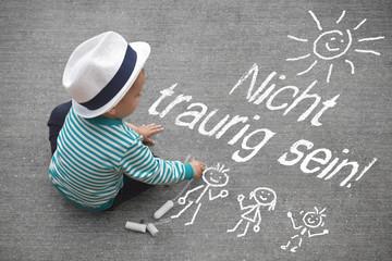 Kinderzeichnung - Nicht traurig sein!
