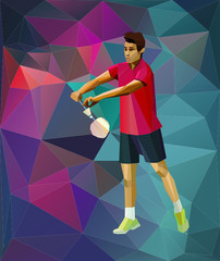 Badminton serve, triangle style badminton player