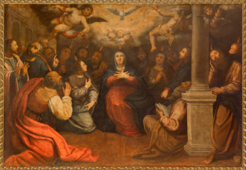 Seville - The paint of Pentecost in church  San Roque
