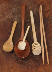 Wooden spoons on a timber board