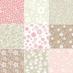 Set of floral patterns in pastel colors