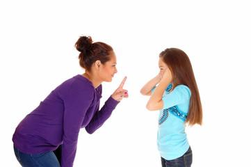 Mother disciplined her girl.