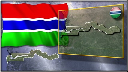 The Gambia flag and map animation