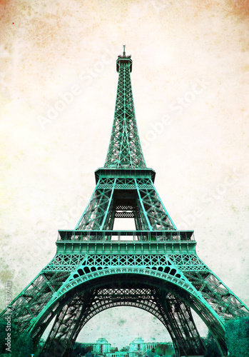Eiffel Tower - retro postcard styled. - 73307411