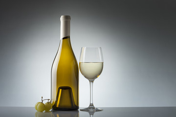 Wine bottle and glass with copy space