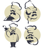 cooking symbols, food and chef silhouettes