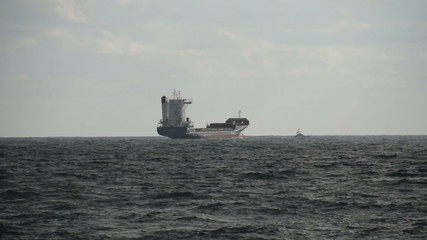 Cargo ship in the distance