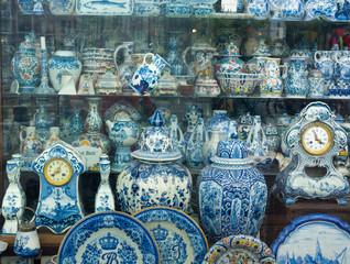 Antique Dutch traditional porcelain in antiques store