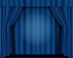 Blue vector illustration theatrical curtains