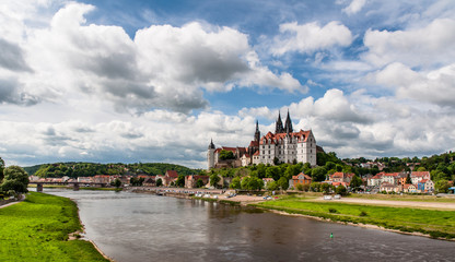 Meissen Castle and Elbe river panorama
