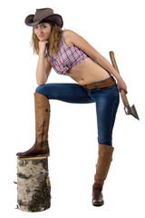 Photo of cowgirl with the axe