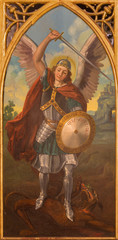 Seville - The paint of archangel Michael in San Pedro church