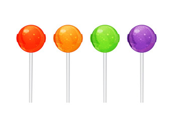 Set of colorful candy on a stick. vector