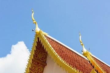 Gable apex on the roof of royal temple in Chiang Rai, thailand.
