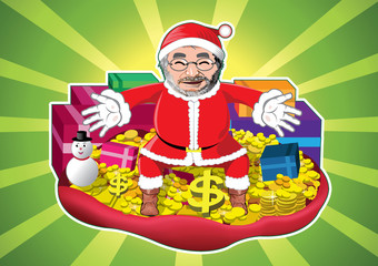 Santa claus with money , gold and gifts