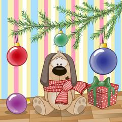 Dog under the tree