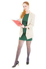 businesswoman wearing a green dress with documents