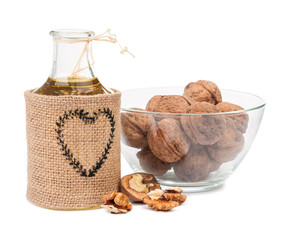 walnut oil and nuts isolated