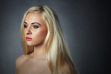 beautiful young woman.Sad blond girl.healthy hair.Beauty salon
