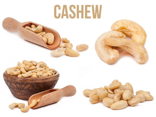 set of four compositions cashews isolated