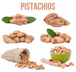 set of six compositions pistachios isolated