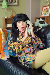 Startled Female Covering Phone